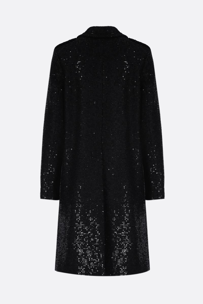 SAINT LAURENT: cappotto monopetto in misto lana con paillettes_2