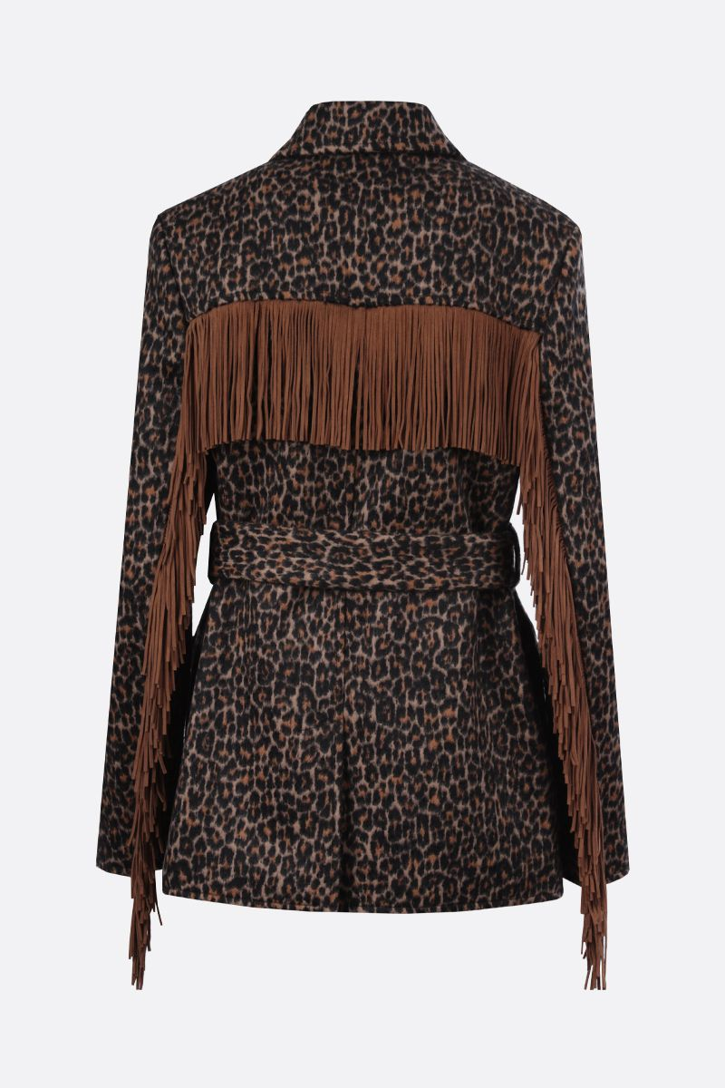 SAINT LAURENT: fringe-detailed wool blend single-breasted coat_2