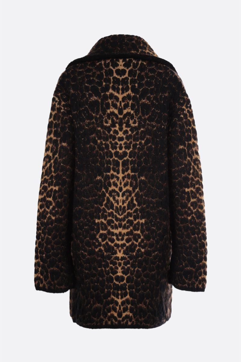SAINT LAURENT: oversize leopard jacquard single-breasted coat Color Animalier_2