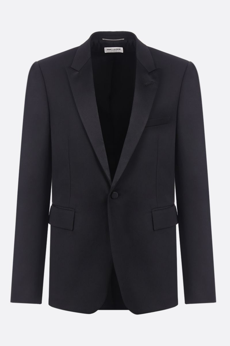 SAINT LAURENT: wool tuxedo suit with satin details Color Black_3