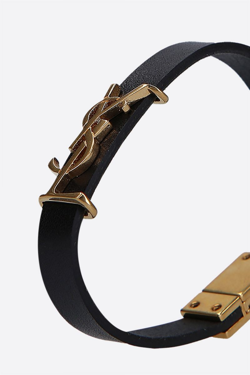 SAINT LAURENT: Opyum smooth leather bracelet Color Black_2