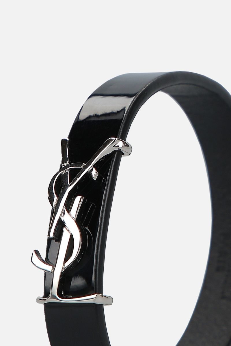 SAINT LAURENT: Opyum patent leather bracelet Color Black_2