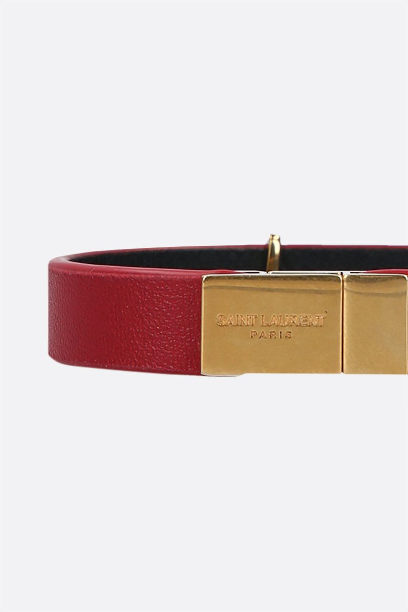 SAINT LAURENT: Opyum nappa bracelet Color Red_2