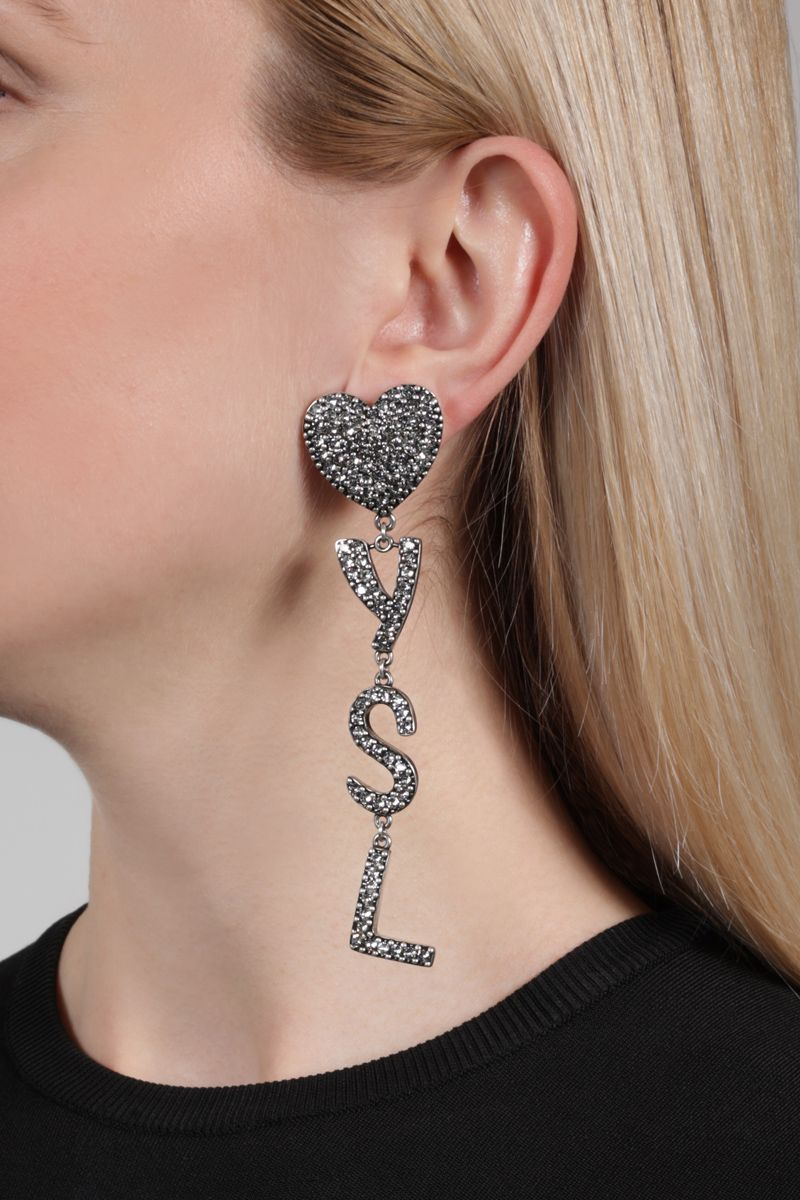 SAINT LAURENT: YSL Heart brass and crystals earrings Color Silver_2