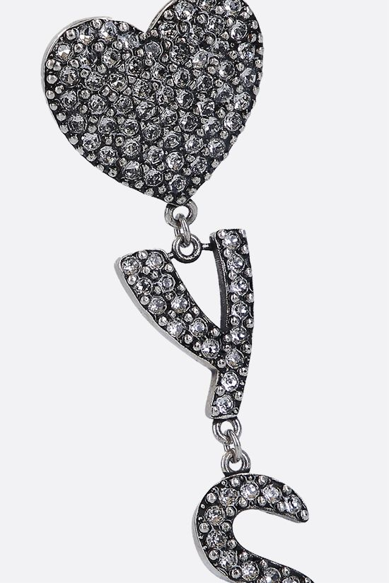 SAINT LAURENT: YSL Heart brass and crystals earrings Color Silver_3