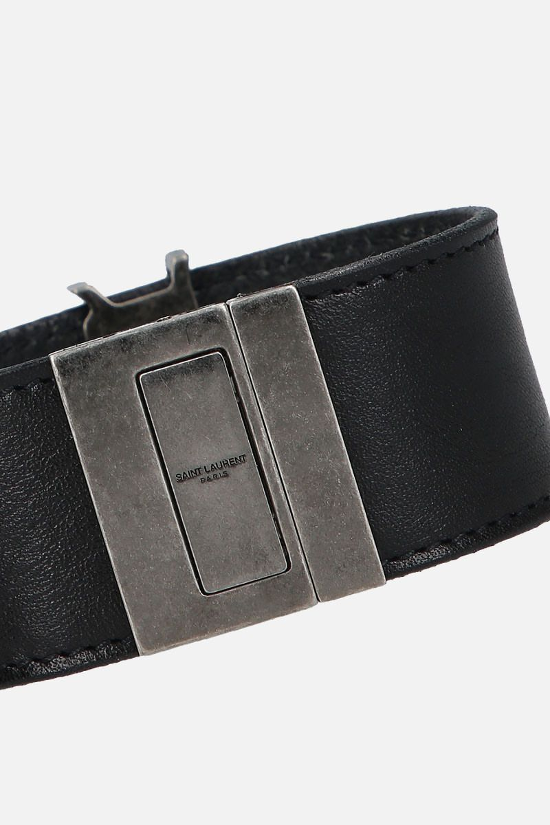SAINT LAURENT: Monogram bracelet in smooth leather Color Black_2
