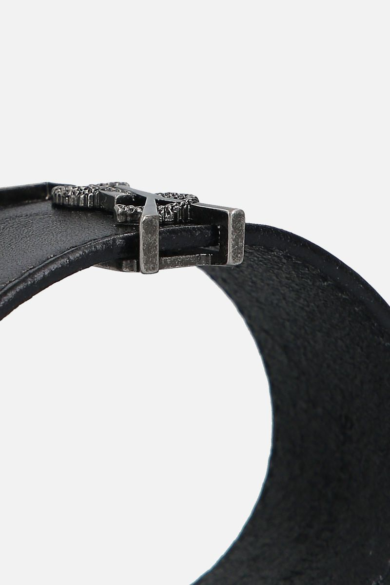 SAINT LAURENT: Monogram bracelet in smooth leather Color Black_3
