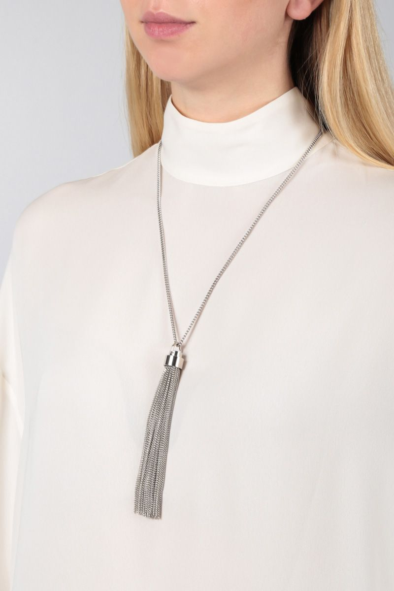SAINT LAURENT: brass necklace with chain tassel Color Silver_2