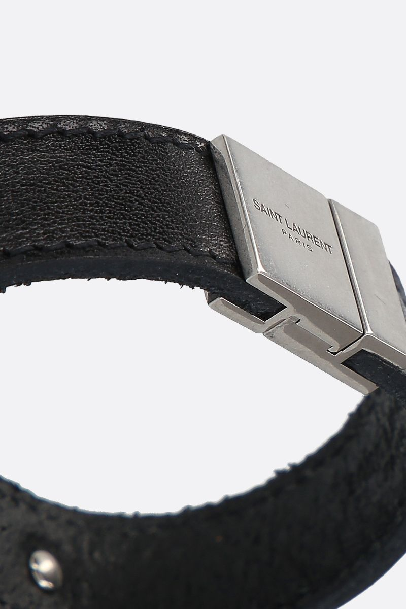 SAINT LAURENT: Saint Laurent ID smooth leather bracelet Color Black_2