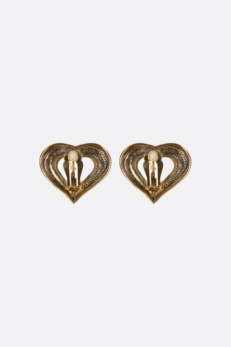 SAINT LAURENT: brass heart-shaped earrings Color Gold_2