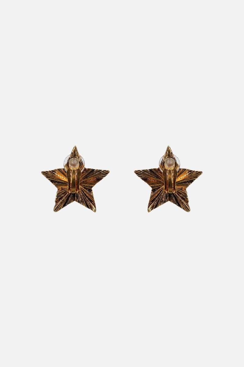 SAINT LAURENT: brass star-shaped earrings Color Gold_2