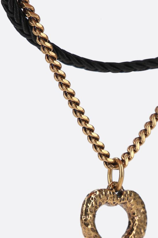 SAINT LAURENT: heart charm-detailed brass and fabric chain bracelet Color Black_2