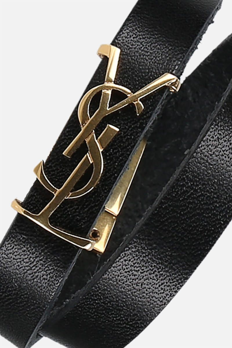 SAINT LAURENT: Opyum smooth leather double-wrap bracelet Color Black_2