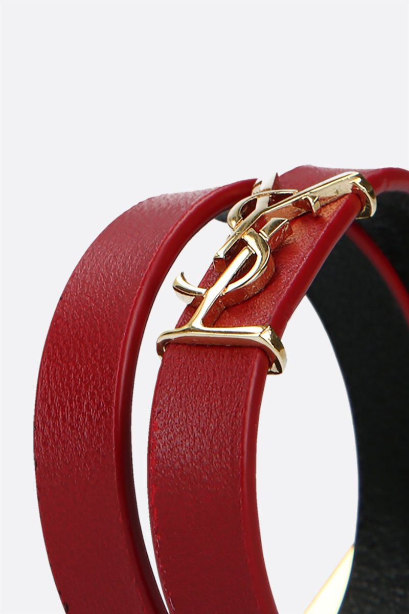SAINT LAURENT: Opyum nappa double-wrap bracelet Color Red_2