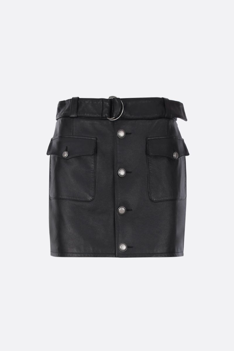 SAINT LAURENT: nappa leather miniskirt with buttons Color Black_1
