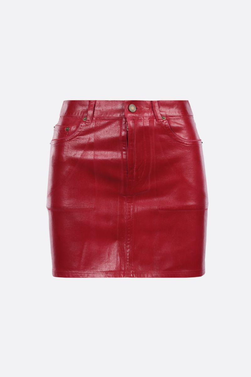 SAINT LAURENT: coated denim miniskirt Color Red_1