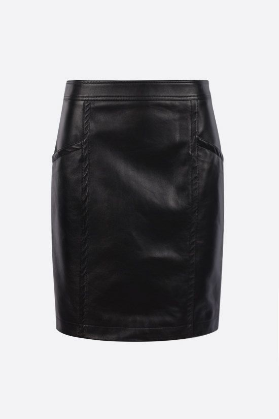 SAINT LAURENT: nappa pencil skirt Color Black_1