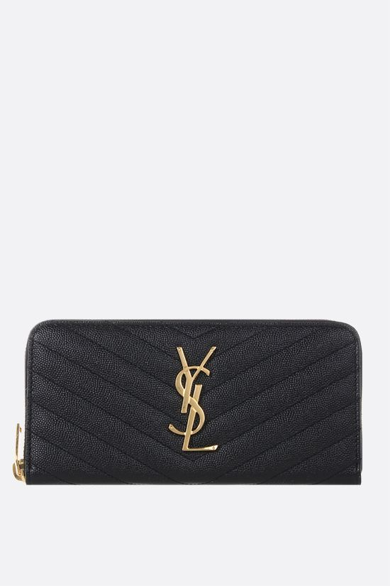 SAINT LAURENT: Monogram quilted leather zip-around wallet Color Black_1