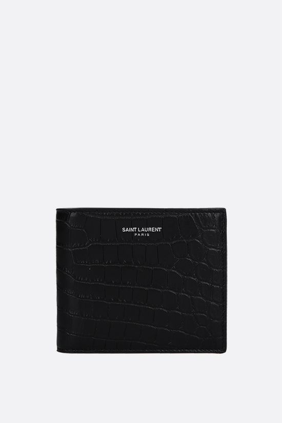 SAINT LAURENT: East/West crocodile embossed leather billfold wallet Color Black_1