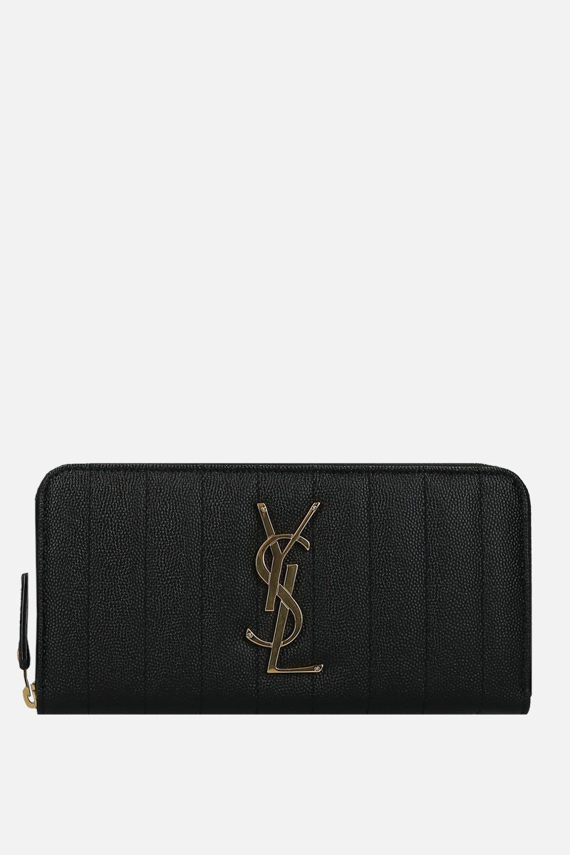 SAINT LAURENT: Vicky zip-around wallet in quilted leather Color Black_1