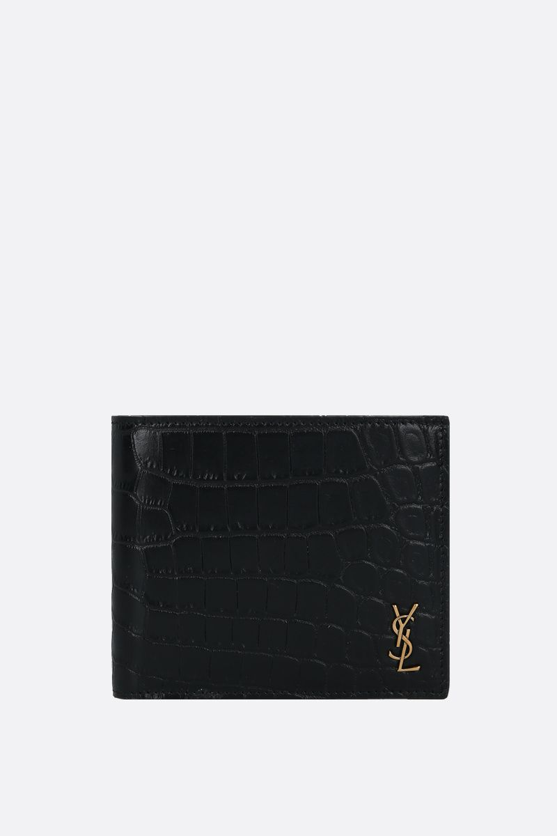 SAINT LAURENT: Monogram E/W crocodile-embossed leather billfold wallet Color Black_1