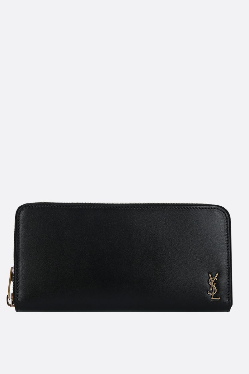 SAINT LAURENT: portafogli zip-around Monogram in pelle lucida Colore Nero_1
