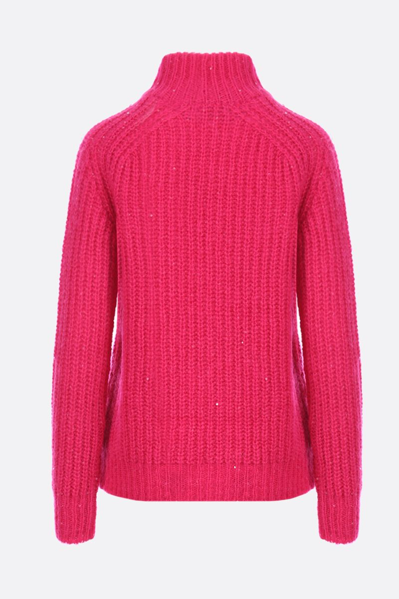 SAINT LAURENT: sequin detailed wool blend pullover Color Pink_2