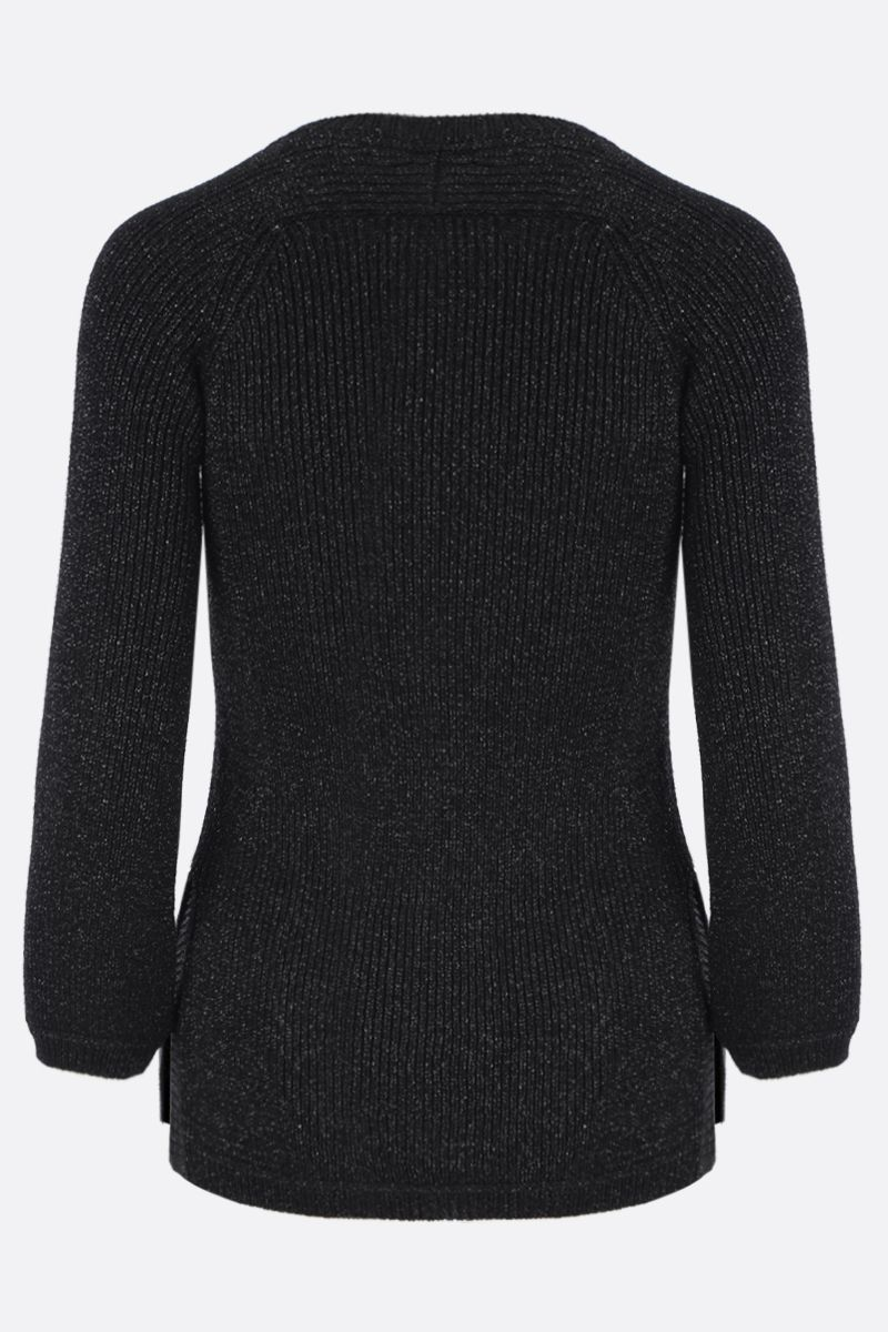 SAINT LAURENT: lurex blend rib-knit pullover Color Black_2