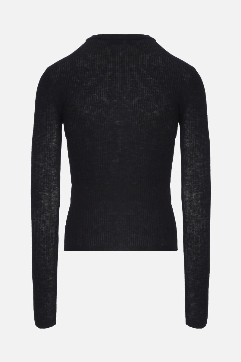 SAINT LAURENT: ribbed mohair blend pullover Color Black_2