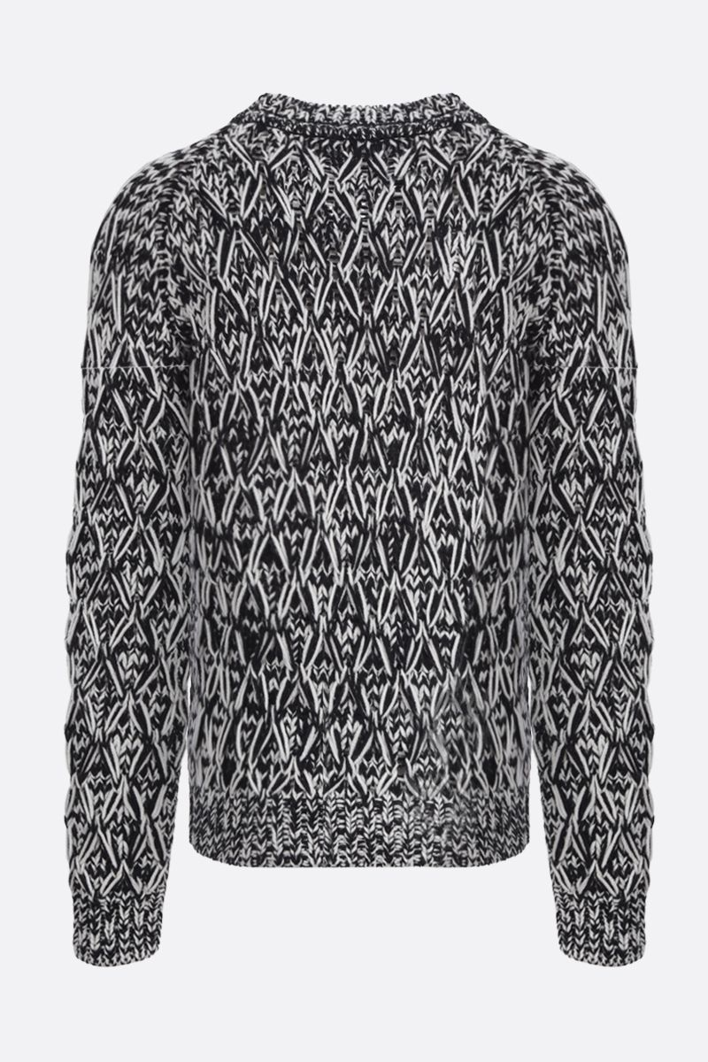 SAINT LAURENT: rhombus knitted wool pullover Color White_2