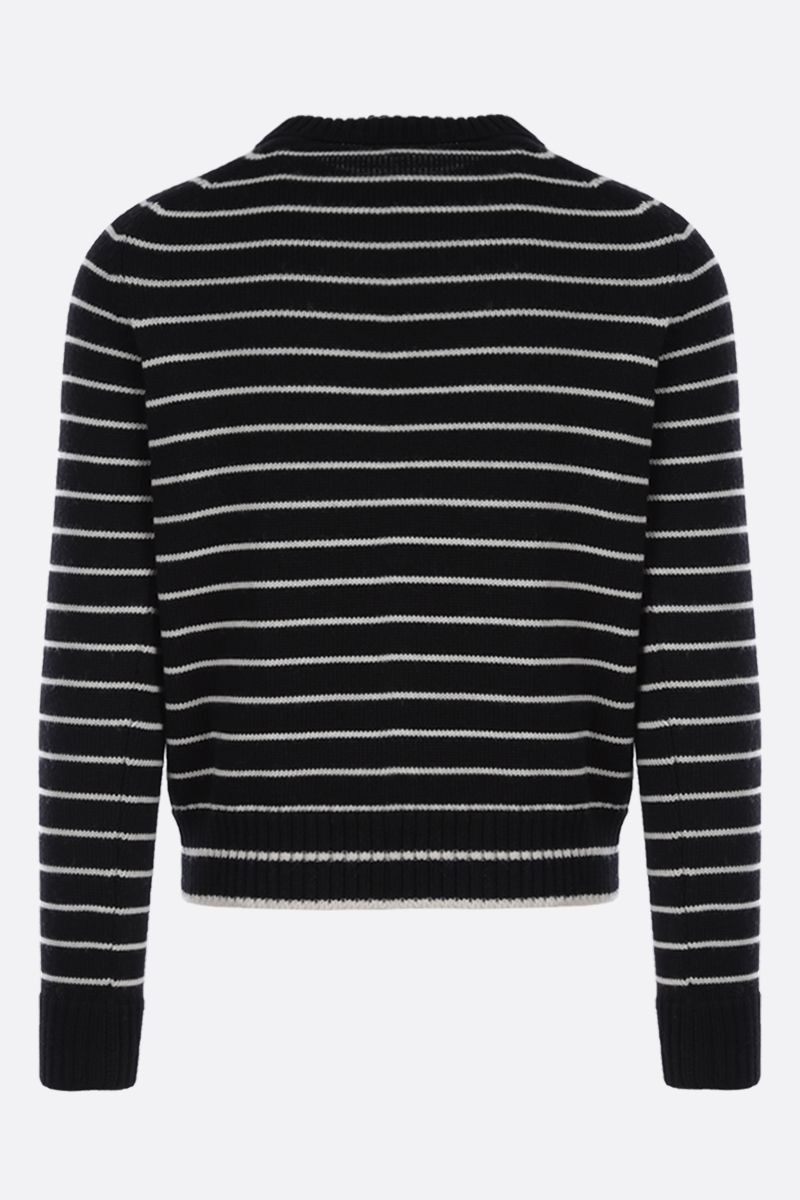 SAINT LAURENT: pullover in lana a righe Colore Bianco_2