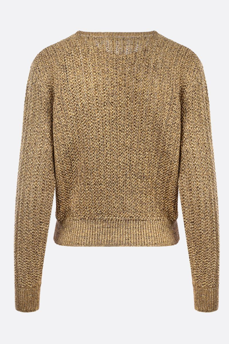 SAINT LAURENT: pullover in tweed lamè Colore Oro_2