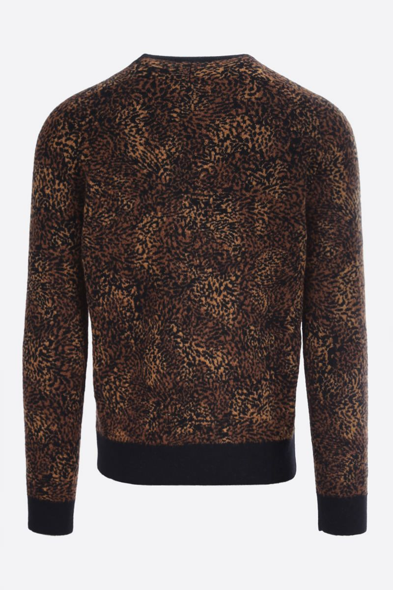 SAINT LAURENT: leopard-motif wool alpaca blend pullover Color Multicolor_2