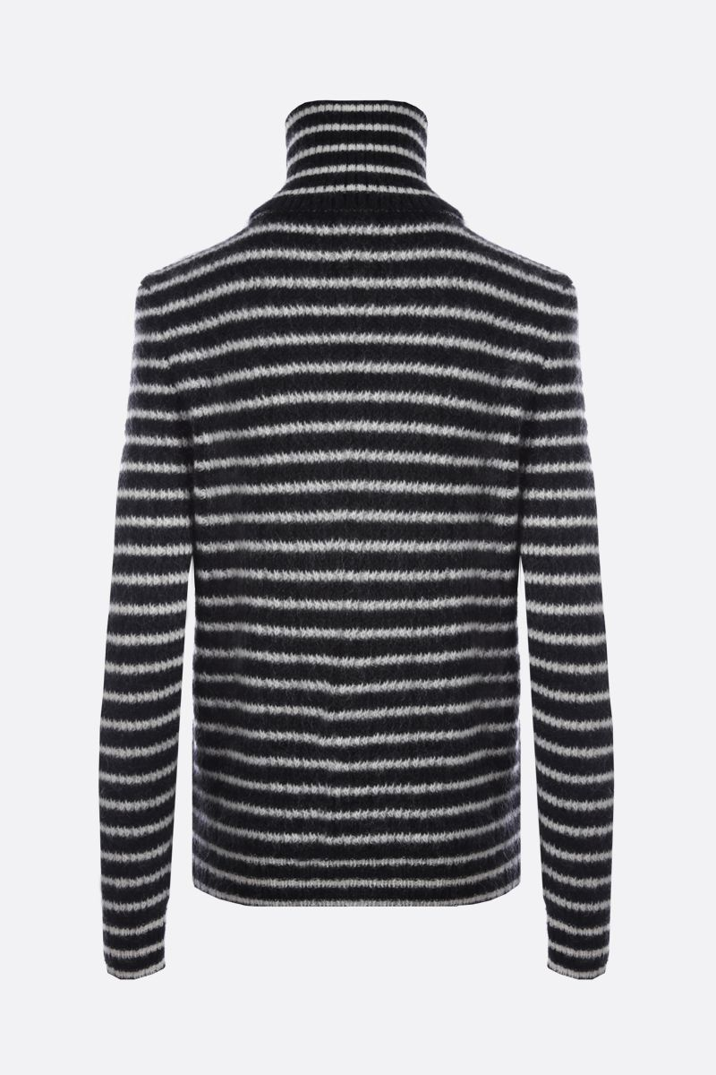 SAINT LAURENT: striped mohair blend turtleneck Color Black_2