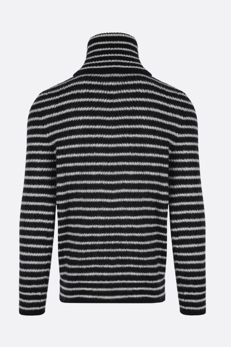 SAINT LAURENT: striped mohair blend turtleneck Color White_2