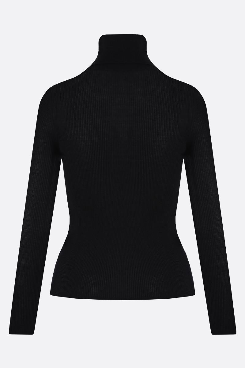 SAINT LAURENT: cashmere, wool silk blend turtleneck Color Black_2
