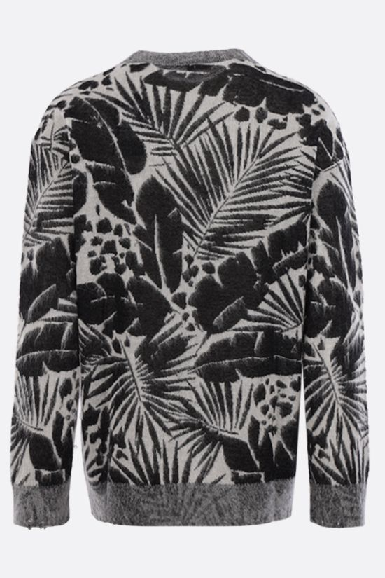 SAINT LAURENT: tropical print linen wool blend pullover Color Black_2