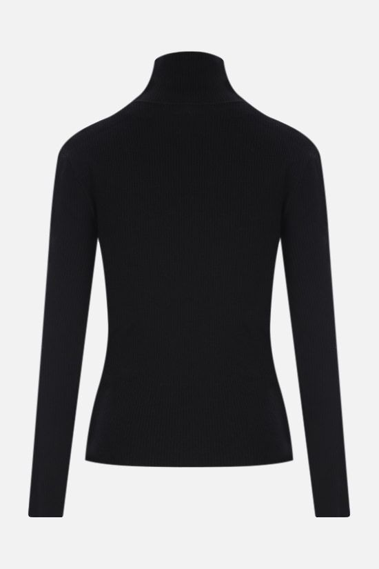SAINT LAURENT: ribbed stretch wool pullover Color Black_2