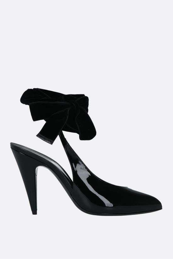 SAINT LAURENT: slingback Venus in vernice Colore Nero_1