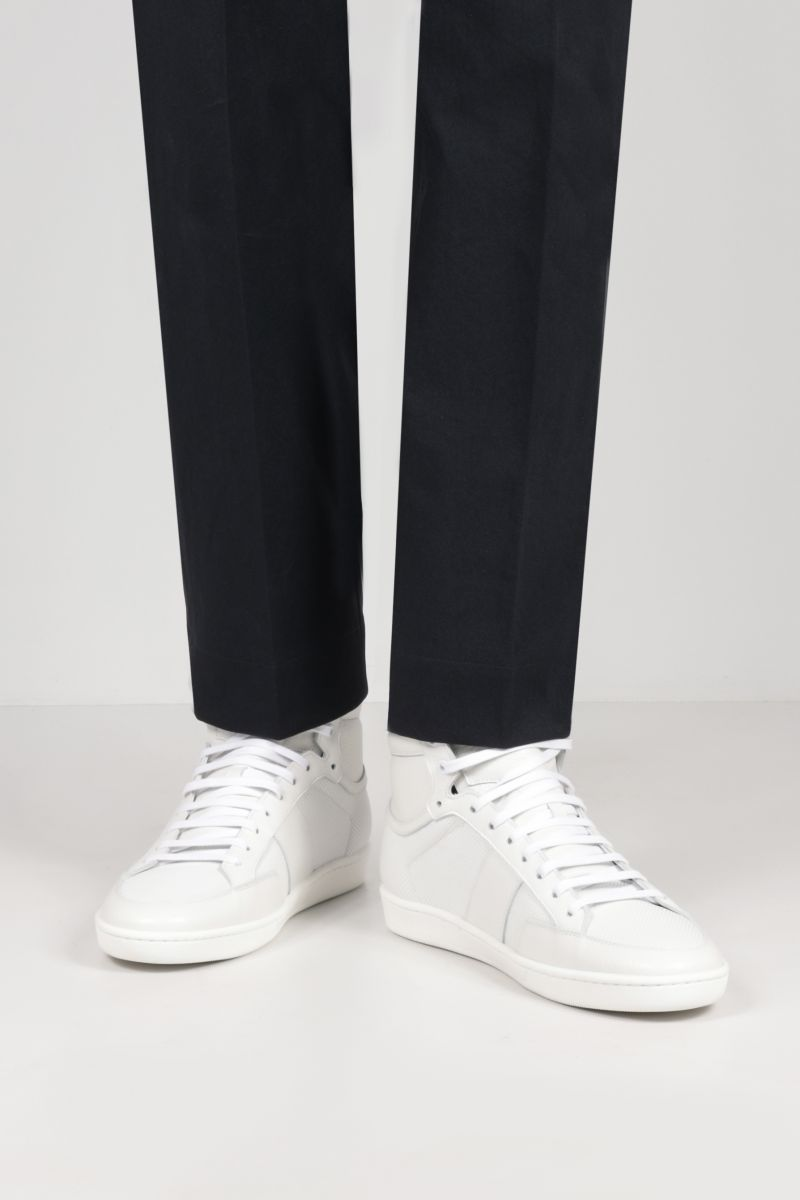SAINT LAURENT: Signature Court SL/10H grainy and perforated leather high-top sneakers Color White_2