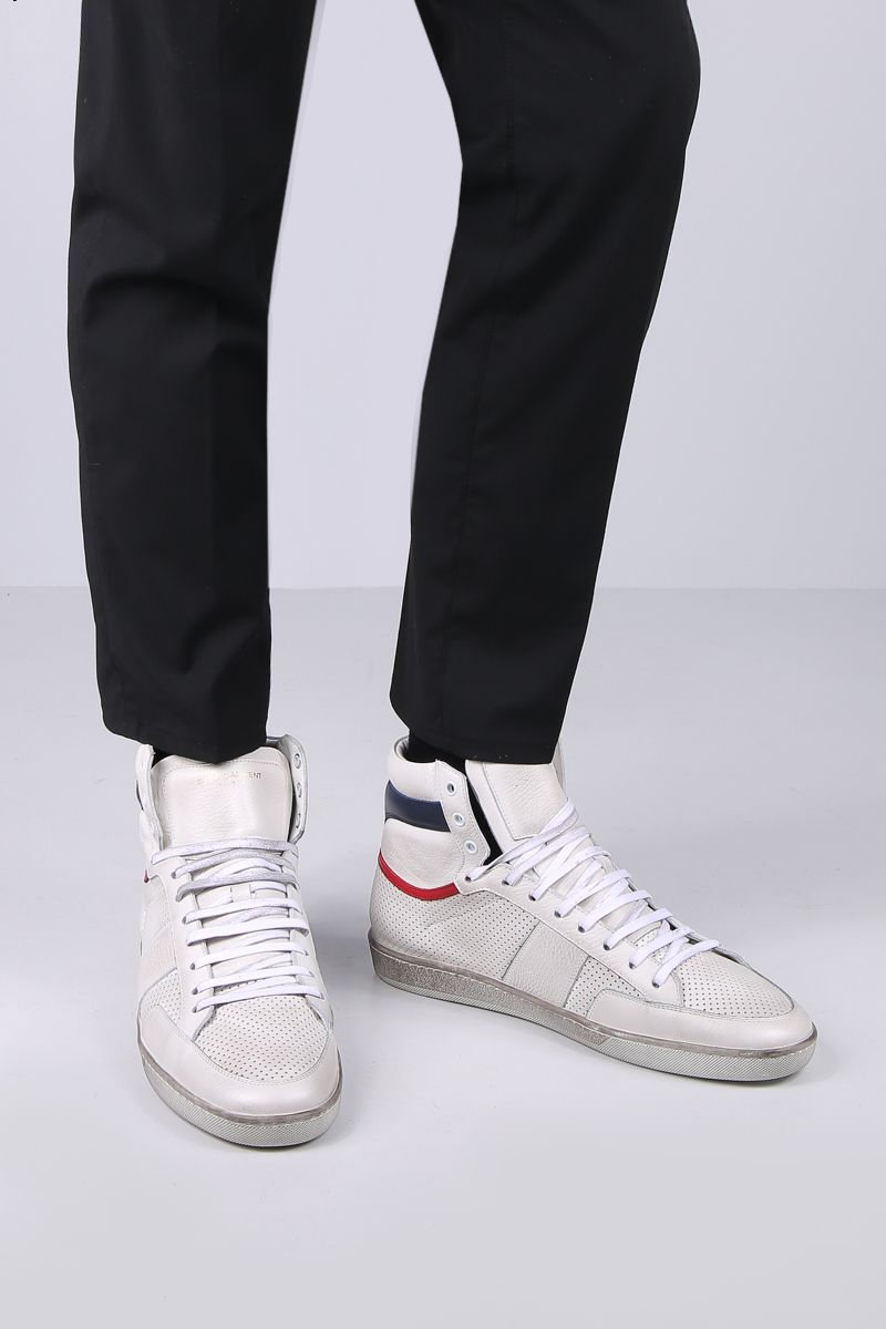 SAINT LAURENT: Court Classic SL/10 sneakers in perforated leather Color Multicolor_2