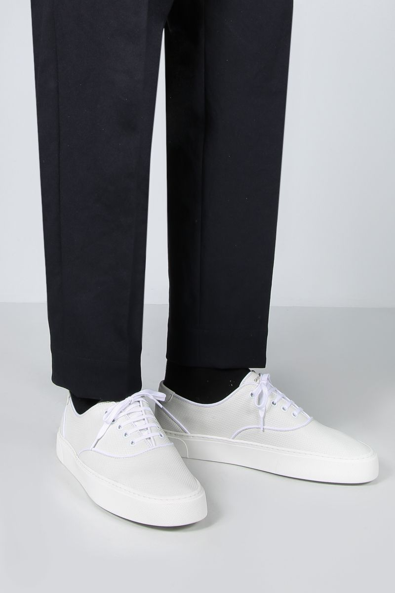 SAINT LAURENT: Venice perforated leather sneakers Color White_2