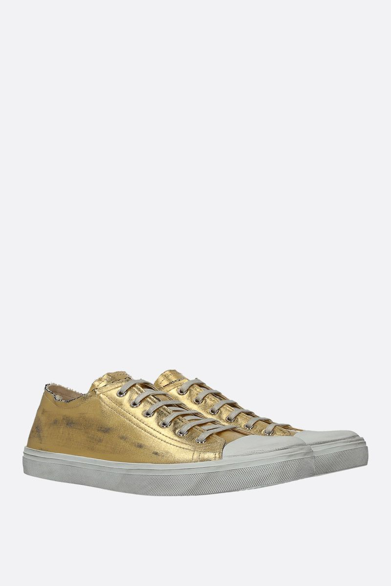 SAINT LAURENT: sneaker Bedford in denim laminato Colore Oro_2