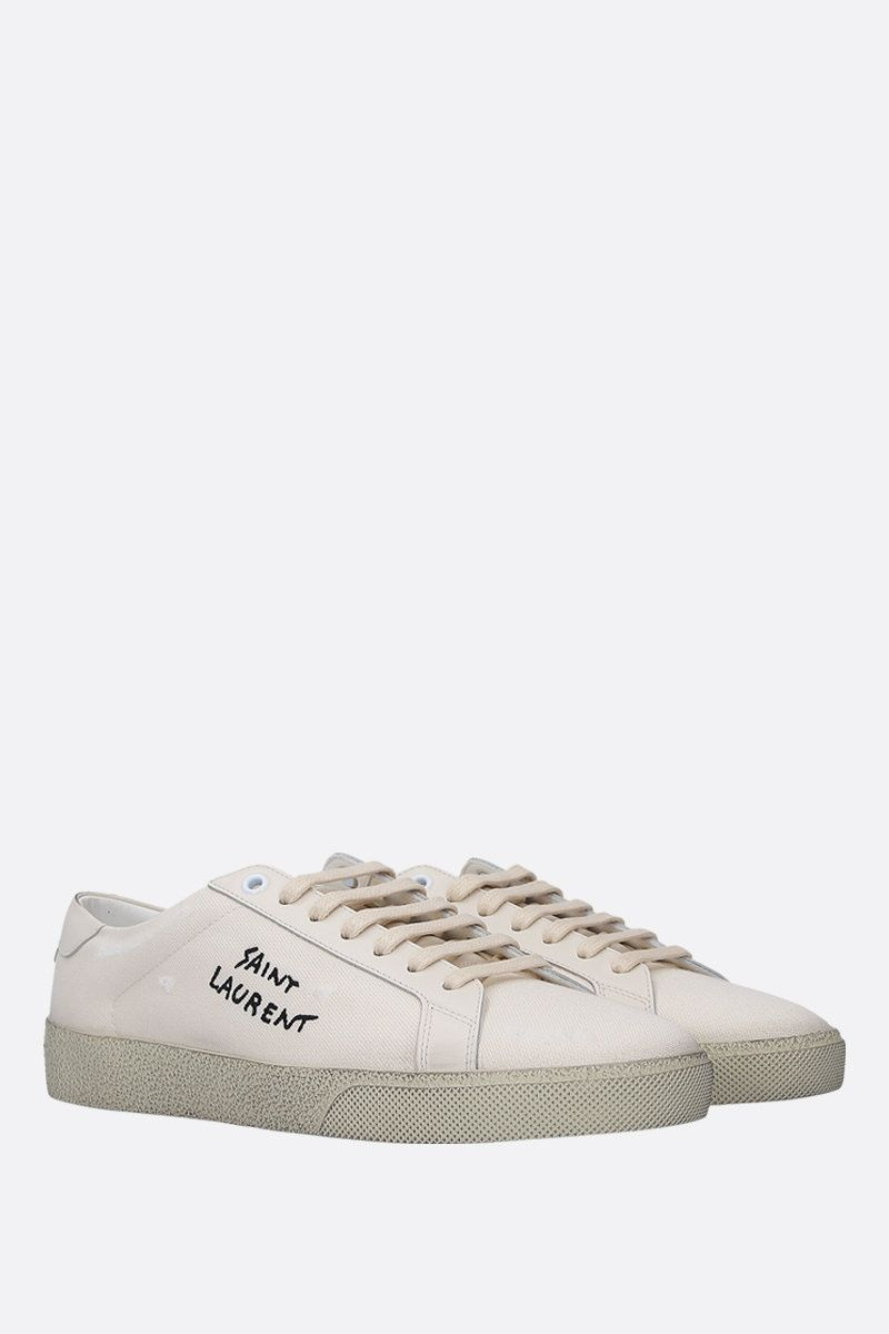 SAINT LAURENT: sneaker Court Classic SL/06 in canvas Colore Bianco_2