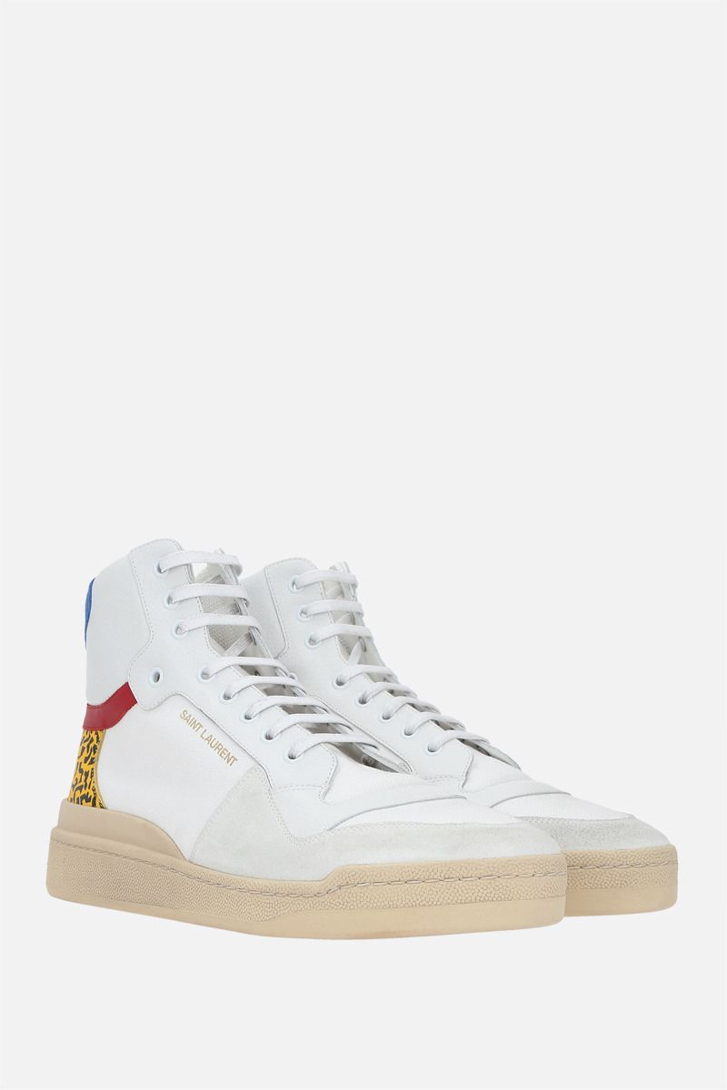 SAINT LAURENT: SL24 canvas and grainy leather mid-top sneakers Color White_2