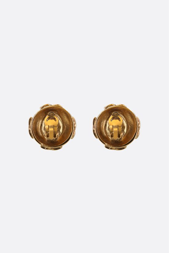 CHANEL VINTAGE: stone-detailed metal earrings Color Gold_2