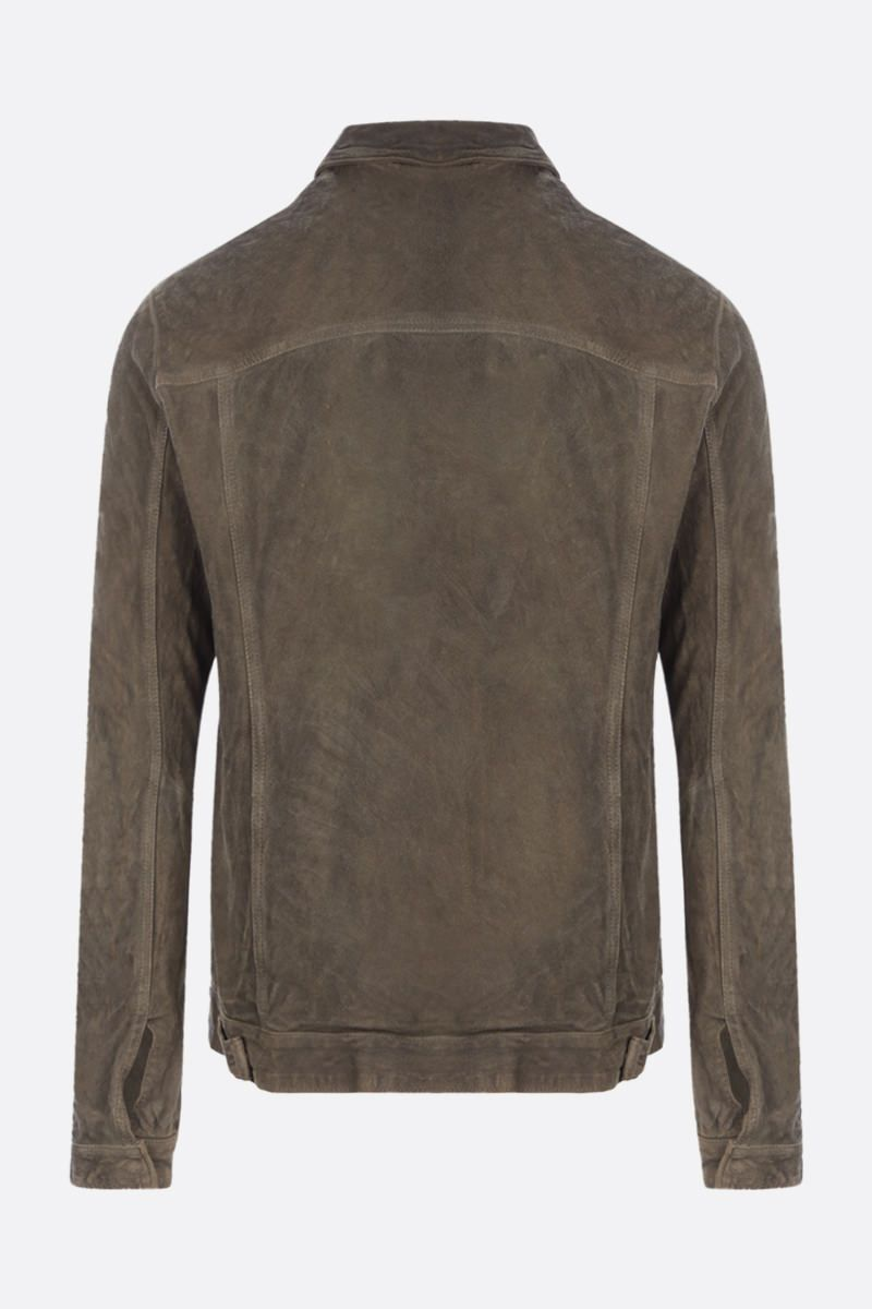 GIORGIO BRATO: crinkled-effect leather overshirt Color Green_2