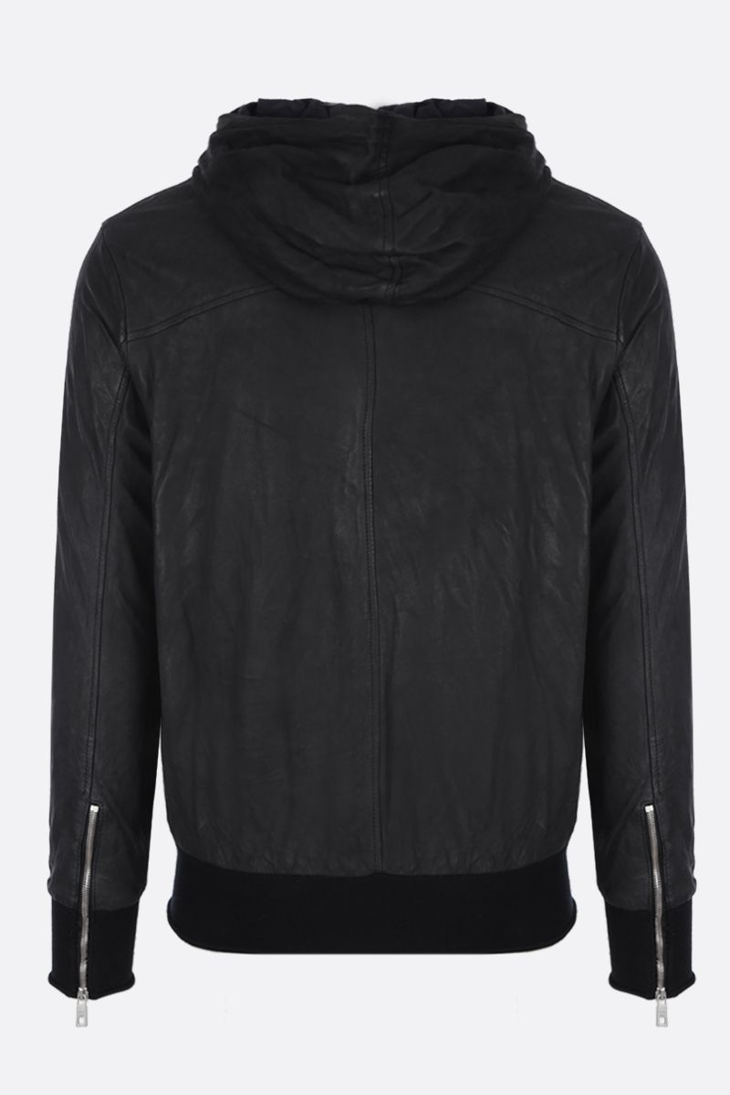 GIORGIO BRATO: hooded bomber jacket in reverse leather Color Black_2