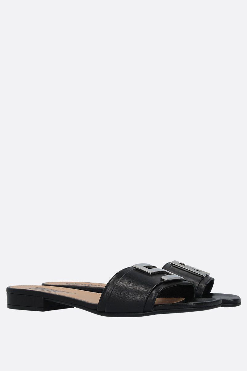 SERGIO ROSSI: Logomaniac soft nappa flat sandals Color Black_3