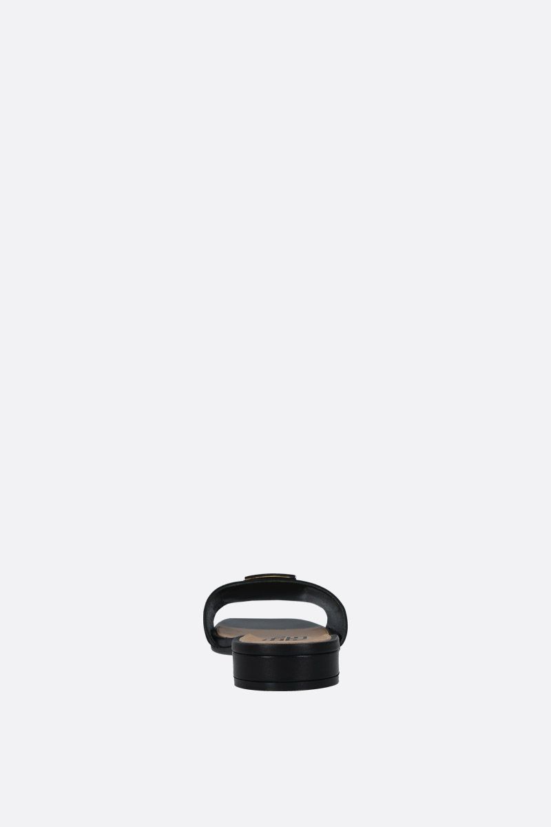 SERGIO ROSSI: Logomaniac soft nappa flat sandals Color Black_4